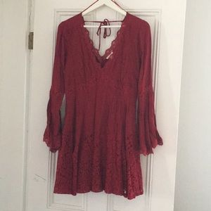 Burgundy bell sleeve fit and flare dress